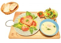 北欧サーモンセット1,200円(税込)サーモンのソテー・選べるスープ・ミニサラダ・デリ・パン