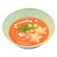 ■今月のスープ■和風ガスパチョ夏野菜の旨味ぎっしり。さらに大葉やミョウガをトッピングして爽やかな風味に。七夕まではかわいい星型のクルトンが乗ってますよ♪
